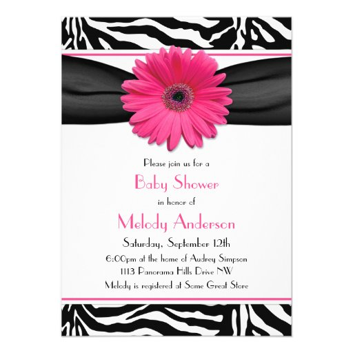 Pink Gerber Daisy Zebra Print Girl Baby Shower Personalized Invitations