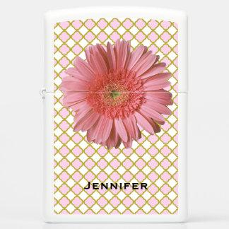 Pink Gerber Daisy Zippo Lighter