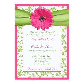Pink Gerber Green Floral Damask Wedding Invitation 5