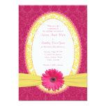 Pink Gerber Lemon Yellow Damask Wedding Invitation