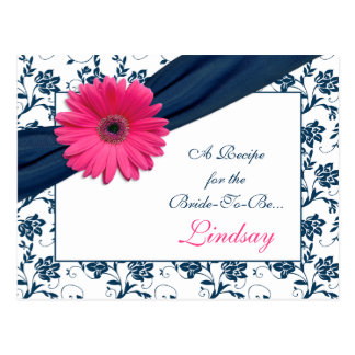 Pink Gerber Navy Damask Recipe Card for the Bride