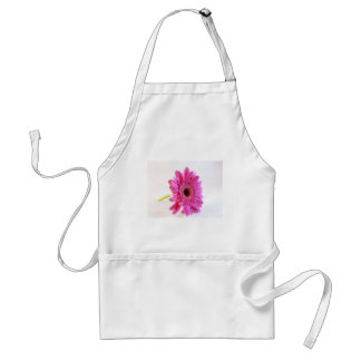 pink gerber on white adult apron