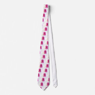 pink gerber on white tie