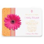 Pink Gerber Orange Plaid  Confirmation Invitation