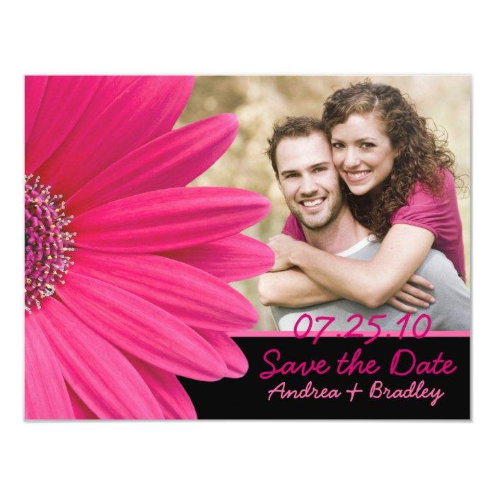 Pink Gerbera Black Photo Save the Date Card