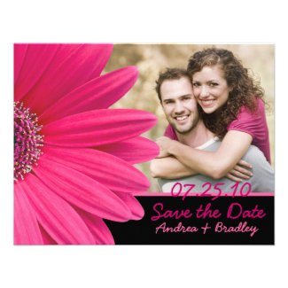 Pink Gerbera Black Photo Save the Date Card Invite