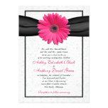 Pink Gerbera Black Ribbon Wedding Invitation
