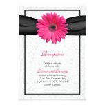 Pink Gerbera Black Ribbon Wedding Reception Insert Personalized Invites