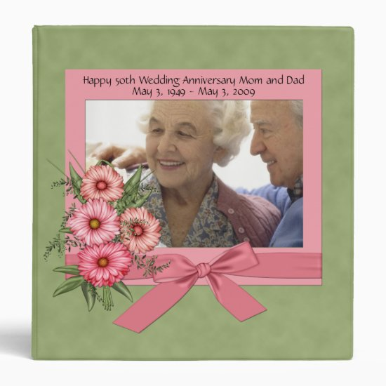 Pink Gerbera Daisies and Green Photo Binder