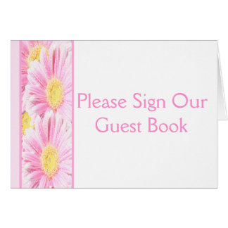 Pink Gerbera Daisies on White Table Card