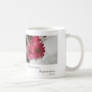Pink gerbera daisies religious quote coffee cup