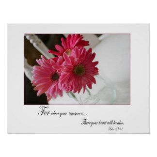 Pink gerbera daisies religious quote poster