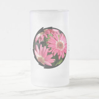 Pink Gerbera Daisy 16 Oz Frosted Glass Beer Mug