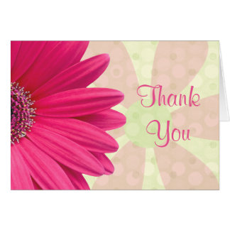 Pink Gerbera Daisy Baby Shower Thank You Card