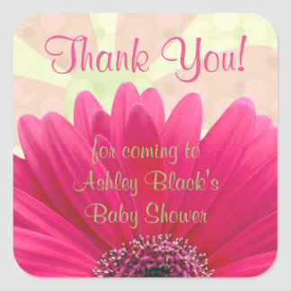 Pink Gerbera Daisy Baby Shower Thank You Stickers