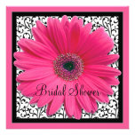 Pink Gerbera Daisy Black Bridal Shower Invitation