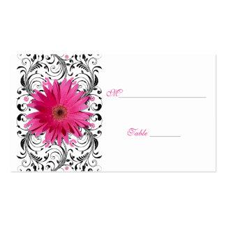 Pink Gerbera Daisy Black Floral Place Card