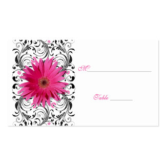 Pink Gerbera Daisy Black Floral Place Card Double-Sided Standard Business Cards (Pack Of 100)
