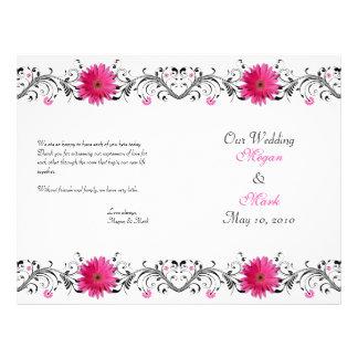 Pink Gerbera Daisy Black Floral Wedding Program