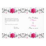 "Pink Gerbera Daisy Black Floral Wedding Program 8.5"" X 11"" Flyer"