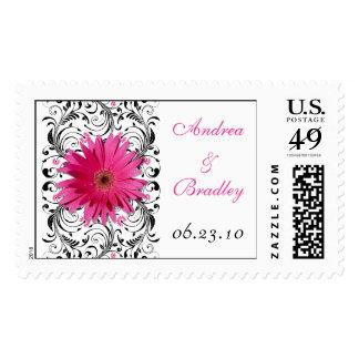 Pink Gerbera Daisy Black Floral Wedding Stamp