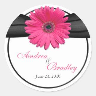 Pink Gerbera Daisy Black Personalized Wedding Classic Round Sticker