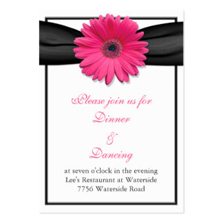 Pink Gerbera Daisy Black Ribbon Reception Card Large Business Cards (Pack Of 100)