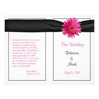 Pink Gerbera Daisy Black Ribbon Wedding Program
