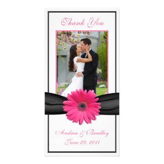 Pink Gerbera Daisy Black Ribbon Wedding Thank You Photo Card