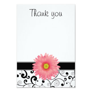 Pink Gerbera Daisy Black Scroll Flat Thank You Card