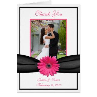 Pink Gerbera Daisy Black Wedding Photo Thank You Card