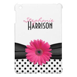Pink Gerbera Daisy Black White Polka Dots iPad Mini Case