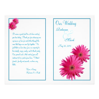 Pink Gerbera Daisy Blue Wedding Program