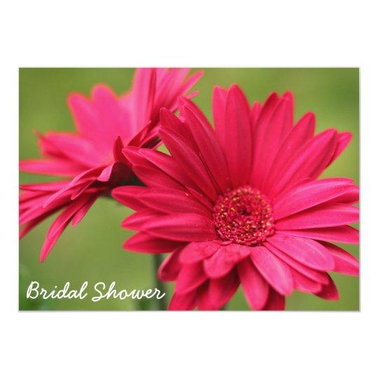 Hot Pink Gerbera Daisy White Wedding Invitation 5 X 7: Pink Gerbera Daisy Bridal Shower Invitation