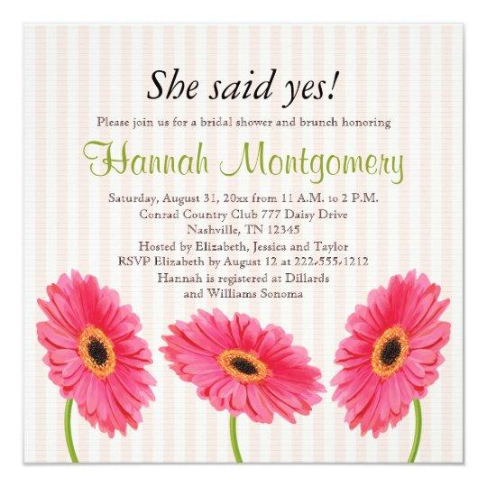 Hot Pink Gerbera Daisy White Wedding Invitation 5 X 7: Pink Gerbera Daisy Bridal Shower Invitations