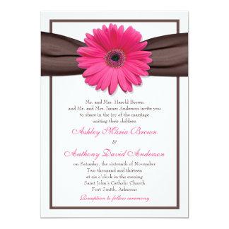 Pink Gerbera Daisy Brown Ribbon Wedding Invitation