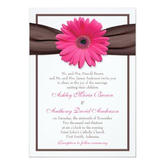Gerbera Wedding Invitations: Pink Gerbera Daisy Brown Ribbon Wedding Invitation