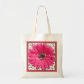 Pink Gerbera Daisy Brown Wedding Welcome Bag