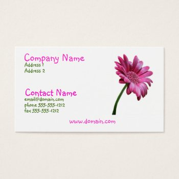 Pink Gerbera Daisy Business Card by PerennialGardens at Zazzle