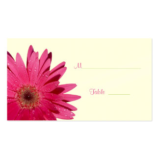 Pink Gerbera Daisy Cream Place Card