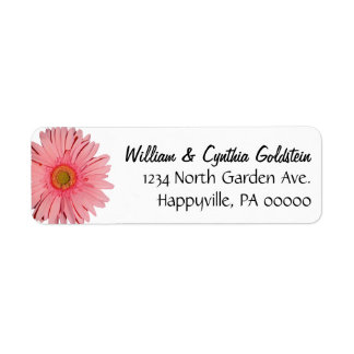 Pink Gerbera Daisy Custom Address Labels