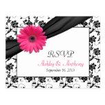 Pink Gerbera Daisy Damask Wedding RSVP Postcard