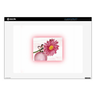 "Pink Gerbera Daisy Decals For 15"" Laptops"