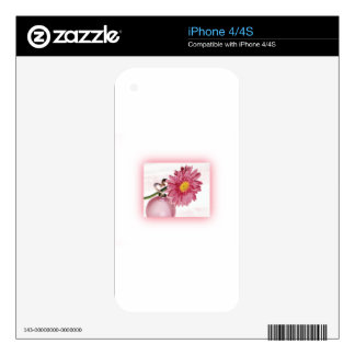 Pink Gerbera Daisy Decals For iPhone 4S