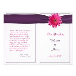 Pink Gerbera Daisy Eggplant Ribbon Wedding Program