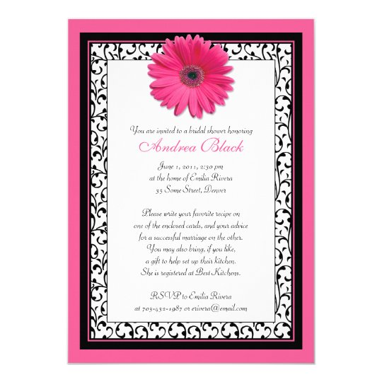 Hot Pink Gerbera Daisy White Wedding Invitation 5 X 7: Pink Gerbera Daisy Floral Bridal Shower Invitation