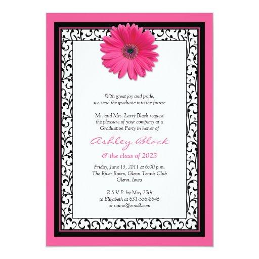 Pink Gerbera Daisy Floral Graduation Invitation