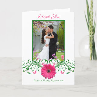 Pink Gerbera Daisy Floral Thank You Card