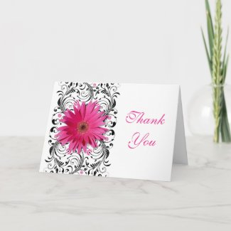 Pink Gerbera Daisy Floral Thank You Card card