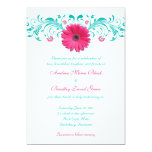 "Pink Gerbera Daisy Floral Wedding Invitation 5"" X 7"" Invitation Card"